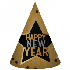 New Year Gold, Black & Silver Cone Party Hat