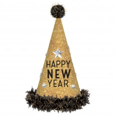New Year Black & Gold Tall Cone Party Hats