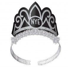 Black & Silver and White & Gold New Year NYE Tiaras 19cm x 14cm Pack of 6