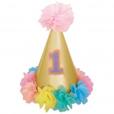 Girl's 1st Birthday Party Supplies - Party Hat Deluxe Glittered Cone
