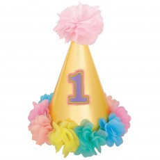 Girl's 1st Birthday Deluxe Glittered Cone Party Hat