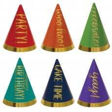 Happy Birthday Rainbow Colours Mini Cone Party Hats