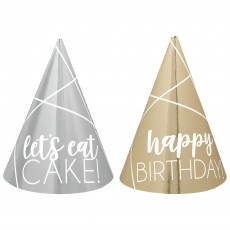 Happy Birthday Silver & Gold Mini Cone Party Hats