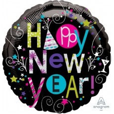 Round Playful Happy New Year! Foil Balloon 45cm
