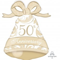 50th Anniversary Gold Elegant SuperShape Bell Shaped Balloon
