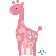 Baby Shower - General SuperShape XL Safari Baby It's a Girl! Shaped Balloon 64cm x 107cm