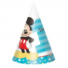 Mickey Mouse 1st Birthday Fun To Be One Party Hats Pack of 8