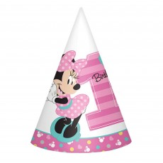 Minnie Mouse 1st Birthday Fun To Be One Paper Cone Party Hats Pack of 8