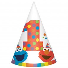 Elmo Turns One Cone Party Hats 15cm Pack of 8