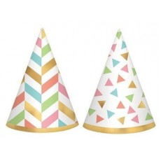 Happy Birthday Confetti Fun Cone Party Hats 10cm Pack of 12