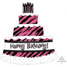 Fabulous Birthday Triple Layer Cake SuperShape XL Shaped Balloon