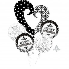 Black & White Wedding Bouquet Best Wishes Shaped Balloons Pack of 5
