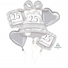 25th Anniversary Silver Scroll Bouquet Foil Balloons Pack of 5