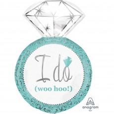 Wedding Blue SuperShape Diamond Ring Shaped Balloon