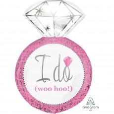 Wedding Pink SuperShape Pink Diamond Ring Shaped Balloon