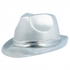 Silver Velour Fedora Hat Head Accessorie