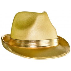 Gold Fedora Volour Hat Head Accessorie