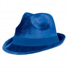 Blue Fedora Velour Hat Head Accessorie