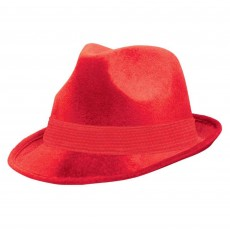 Red Fedora Velour Hat Head Accessorie