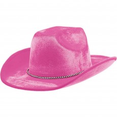 Cowboy & Western Pink Velour Cowboy Hat Head Accessorie