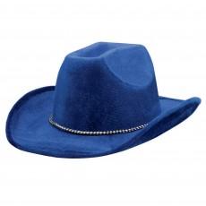 Cowboy & Western Blue Velour Cowboy Hat Head Accessorie