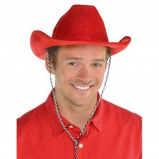 Cowboy & Western Red Velour Cowboy Hat Head Accessorie