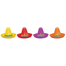Mexican Fiesta Mini Plastic Sombrero Party Hats Pack of 8