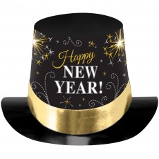 New Year Party Supplies - Top Hat Black, Silver & Gold