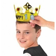 Happy Birthday Gold Customisable Age Plastic Crown Head Accessorie