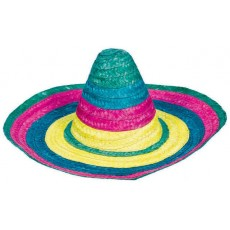 Caliente Multi Coloured Fiesta Sombrero Hat Costume Accessorie