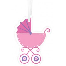 Baby Shower Party Supplies - Baby Buggy Paper Tags Pink