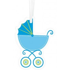 Baby Shower Party Supplies - Baby Buggy Paper Tags Blue