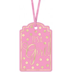 Baby Shower - General Pink Hot Stamp Paper Tags Misc Accessories