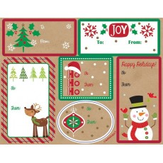 Christmas Party Supplies - Kraft Country Gift Tags Adhesive Labels