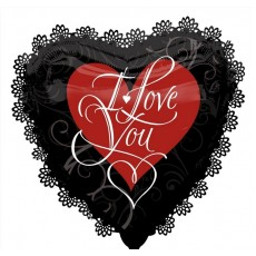 Love SuperShape Black & Red Intricates Shaped Balloon