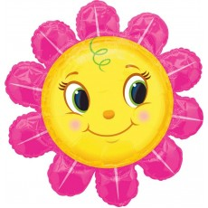 Multi Colour SuperShape XL Smiley Pink Flower Shaped Balloon