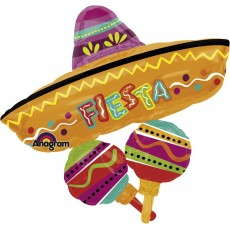 Mexican Fiesta SuperShape Fun Hat Cluster Shaped Balloon