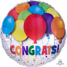 Congratulations Multi Coloured Bold Balloons & Confetti Foil Balloon
