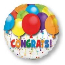 Round Congratulations Bold Balloons Congrats Foil Balloon 22cm