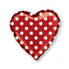 Dots & Stripes Red & White  Foil Balloon