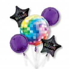 Disco & 70's Disco Fever Bouquet Foil Balloons Pack of 5