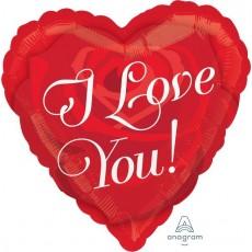 Heart Standard HX Rose Heart I Love You! Shaped Balloon 45cm