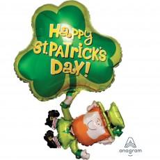 SuperShape Leprechaun Happy St Patrick's Day! Shaped Balloon 72cm x 83cm