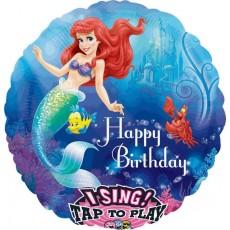 Round The Little Mermaid Sing-A-Tune Singing Balloon 71cm