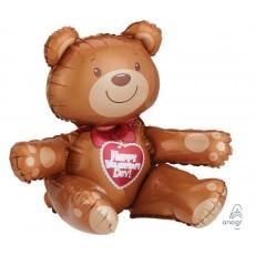 CI: Multi-Balloon Sitting Bear Happy Valentine's Day Shaped Balloon 48cm x 43cm