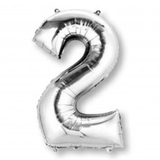 Number 2 Party Decorations - Shaped Balloon SuperShape Silver 86cm