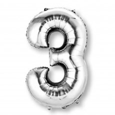 Number 3 Silver SuperShape Shaped Balloon