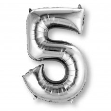 Number 5 Party Decorations - Shaped Balloon SuperShape Silver 86cm