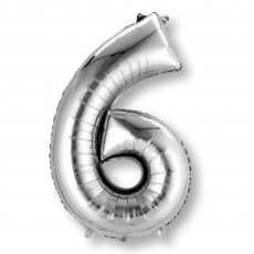 Number 6 Silver SuperShape Shaped Balloon