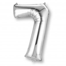 Number 7 Silver SuperShape Shaped Balloon
